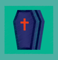 flat shading style icon halloween coffin vector image