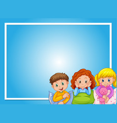 frame design with kids in pajamas vector image