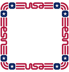 Frame with USA flag colors and symbols for vector image