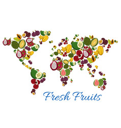 Fresh tropical exotic fruits in shape of world map vector