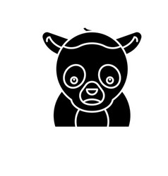 funny lemur black icon sign on isolated vector image