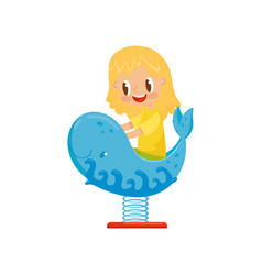 Girl having fun at spring seesaw whale kid on a vector