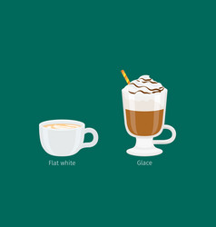 Glace and flat white coffee drinks vector