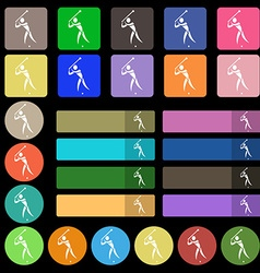 Golf icon sign set from twenty seven multicolored vector