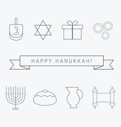 hanukkah holiday flat design black thin line vector image