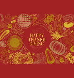 happy thanksgiving day greeting card hand vector image