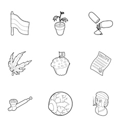 Hashish icons set outline style vector image