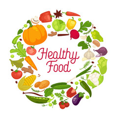 healthy food poster organic vegetables vector image