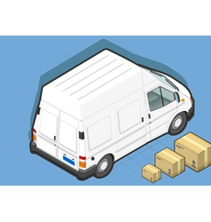 Isometric White Van in Rear view vector