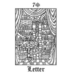 Letter tarot card from lenormand gothic vector