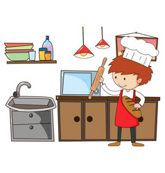 Little chef with kitchen equipments on white vector