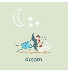 Man sleeping under the stars vector