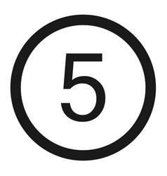Maximum speed limit 5 sign line icon vector