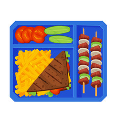 Meal tray filled with sandwich french fries vector