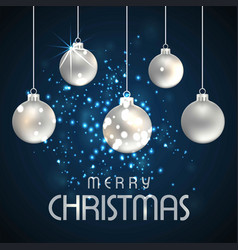 merry christmas card with balls and typography vector image