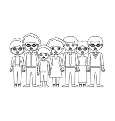 Monochrome silhouette with family group and some vector