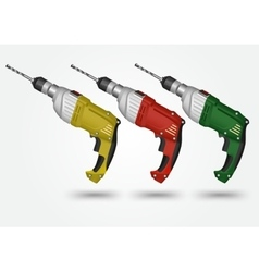 multicolored electric drills on a white background vector image