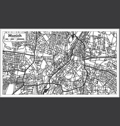 Munich germany city map in retro style outline map vector