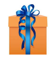orange gift box with a blue ribbon icon flat style vector image