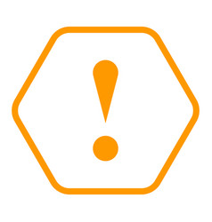 Orange hexagon exclamation mark icon warning sign vector