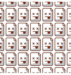 Paper document kawaii character pattern background vector