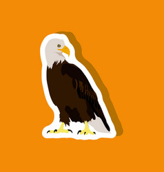 Paper sticker on stylish background eagle vector