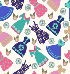 pattern of summer lady dress collection vector image