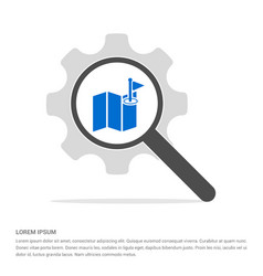 pin on map icon search glass with gear symbol vector image