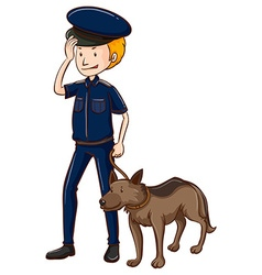 Policeman and police dog vector