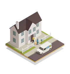 Postal delivery service isometric composition vector
