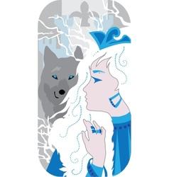Princess and wolf vector image
