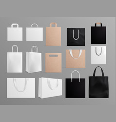 realistic paper bags black white shopping bag vector image