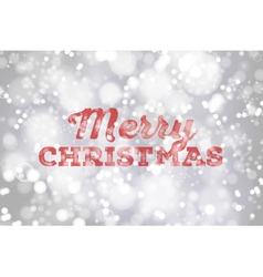 Red Merry Christmas typography on silver bokeh bac vector