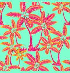 red seamless tropical palms pattern summer vector image