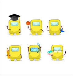 School student among us yellow cartoon vector
