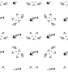 seamless pattern with cats and fish bones vector image