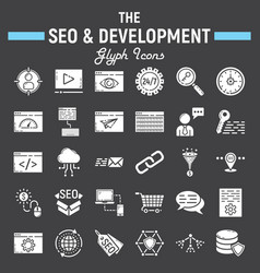 seo and development glyph icon set business signs vector image