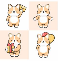 Set cute corgi characters vector