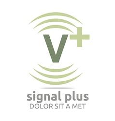 Signal letter v plus green alphabet wireless vector