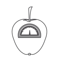 Silhouette monochrome of apple with stem and scale vector