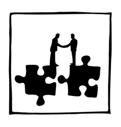 silhouette two businessmen shaking hands on vector image
