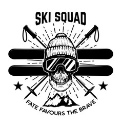 Ski squad extreme skull with skis design element vector