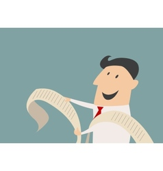 Smiling cartooned businessman with long document vector image