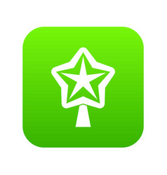 Star for christmass tree icon digital green vector