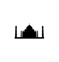taj mahal silhouette icon black on white vector image