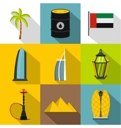 Tourism in UAE icons set flat style vector