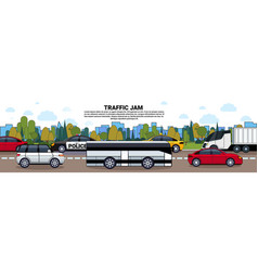 Traffic jam poster with cars and bus on road over vector