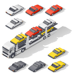 Transportation of vehicles loaded on board the car vector