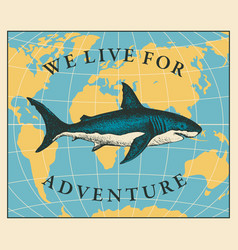 Travel banner with hand-drawn shark and map vector