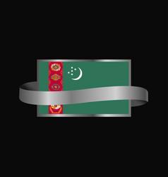 Turkmenistan flag ribbon banner design vector